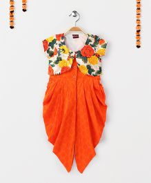 Twisha Fusion Jumper With Floral Print Shrug - Orange