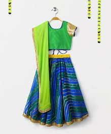 Kids Chakra Stripes Print Ghagra Choli - Blue & Green