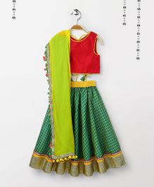 Kids Chakra Checks Ghagra With Sleeveless Choli With Dupatta - Red & Green