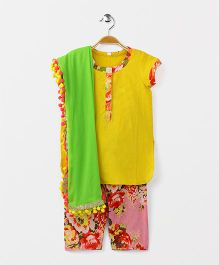 Kids Chakra Floral Print Patiala Suit - Yellow & Pink