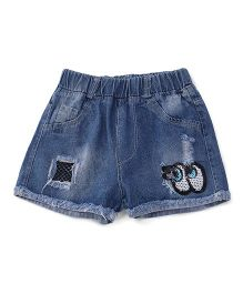 Party Princess Eye Applique Denim Shorts - Navy Blue