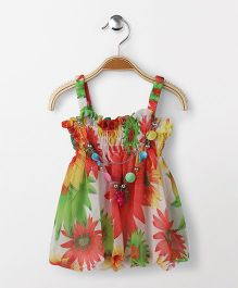 Party Princess Floral Print Top With Necklace - Multicolor
