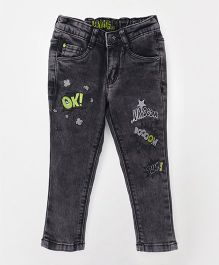 Vitamins Full Length Narrow Fit Jeans Text Embroidery - Black