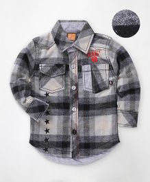 Little Kangaroos Full Sleeves Checks Shirt - Black & Grey