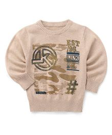 Little Kangaroos Full Sleeves Pullover Sweater - Beige