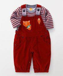 Little Kangaroos Full Sleeves Romper Style Dungaree With T-shirt - Maroon