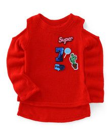 Little Kangaroos Cold Shoulder Full Sleeves Winter Wear Top Super Patch - Red
