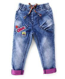 Little Kangaroos Full Length Washed Jeans With Drawstring - Light Blue