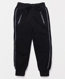 Little Kangaroos Full Length Track Pant Front Zipper Panel - Black