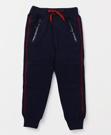 Little Kangaroos Full Length Track Pant Front Zipper Panel - Navy Blue