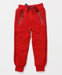 Little Kangaroos Full Length Track Pant Front Zipper Panel - Red
