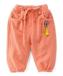 Little Kangaroos Full Length Track Pant Kitty Tassel - Peach