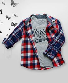 Bella Moda Big Check Print Shirt & T-Shirt Set - Multicolor