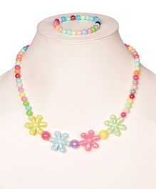 Miss Diva Multi Floral Beautiful Necklace & Bracelet Set - Multicolor