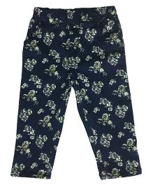 Kiddopanti Full Length Jeggings Floral Print - Navy Blue