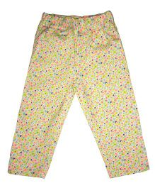 Kiddopanti Full Length Pull On Trouser Floral Print - White Yellow