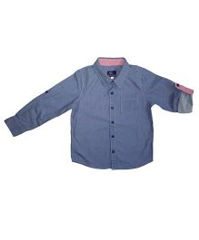 Kiddopanti Full Sleeves Printed Shirt - Navy Blue