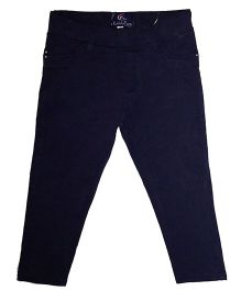 Kiddopanti Full Length Solid Colour Jeggings - Navy Blue