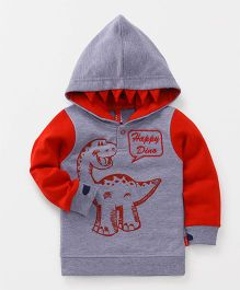 Spark Full Sleeves Hooded Sweatshirt Dino Print - Red Grey