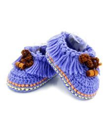 Magic Needles Crochet Boot Style Booties - Blue