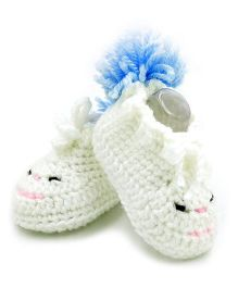 Magic Needles Crochet Boot Style Booties - White