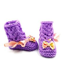 Magic Needles Crochet Boot Style Booties - Purple