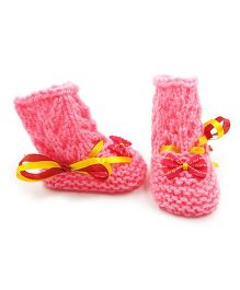 Magic Needles Crochet Boot Style Booties - Pink