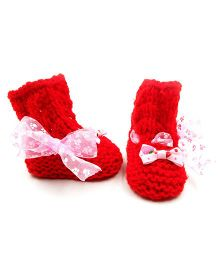 Magic Needles Crochet Boot Style Booties - Red