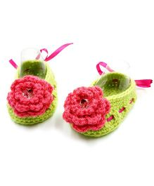 Magic Needles Crochet Booties - Green