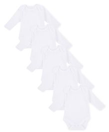 Mothercare Full Sleeves Onesies Pack Of 5 - White