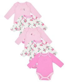 Mothercare Full Sleeves Onesies Floral Print Pack Of 5 - Pink White