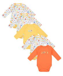 Mothercare Full Sleeves Onesies Alphabet Print Pack Of 5 - Yellow Orange White
