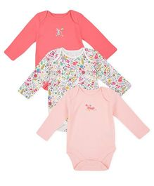 Mothercare Full Sleeves Onesies Floral Print Pack Of 3 - Pink White Peach