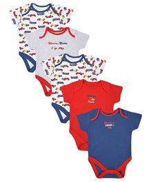 Mothercare Short Sleeves Onesies Vehicle Print Pack Of 5 - Blue Grey Red