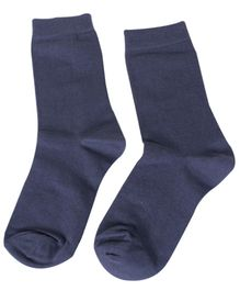 Mustang Solid Color School Socks -  Navy Blue