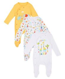 Mothercare Full Sleeves Sleep Suit With Print Pack Of 3 - Yellow & White