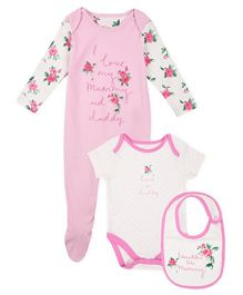 Mothercare Sleep Suit Onesie & Bib Set Pack Of 3 - Pink & White