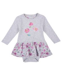 Mothercare Full Sleeves Knee Length Onesie Frock Floral Print & Embroidery - Grey