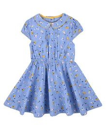 Mothercare Cap Sleeves Collar Frock Bunny Print - Blue