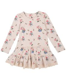 Mothercare Full Sleeves Knee Length Frock Floral Print - Cream