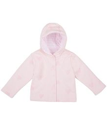 Mothercare Full Sleeves Hooded Jacket Heart Design - Pink