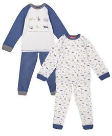 Mothercare Full Sleeves Night Suit Animal Print Pack Of 2 - Blue & White
