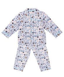 Mothercare Full Sleeves Night Suit Allover Print - White & Multicolor