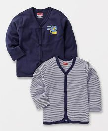 Babyhug Full Sleeves Front Open Vest Teddy & Stripes Print Pack of 2 - Navy