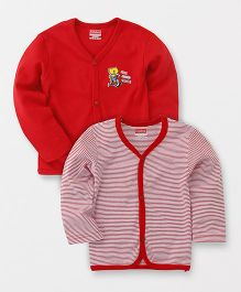 Babyhug Full Sleeves Front Open Vest Teddy & Stripes Print Pack of 2 - Red
