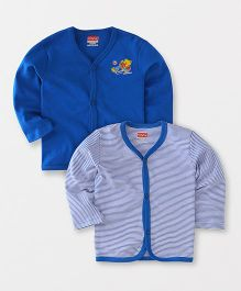 Babyhug Full Sleeves Front Open Vest Teddy & Stripes Print Pack of 2 - Royal Blue