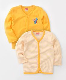 Babyhug Full Sleeves Front Open Vest Teddy & Stripes Print Pack of 2 - Yellow