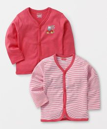 Babyhug Full Sleeves Front Open Vest Teddy & Stripes Print Pack of 2 - Pink