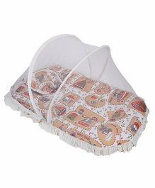 Mee Mee Mattress With Pillow And Mosquito Net Bear Print - White