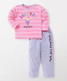 Doreme Full Sleeves Night Suit Ice Cream Print - Pink Grey